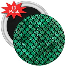 Scales1 Black Marble & Green Marble 3  Magnet (10 Pack)