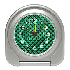 Scales1 Black Marble & Green Marble Travel Alarm Clock by trendistuff