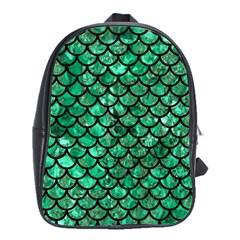 Scales1 Black Marble & Green Marble School Bag (large) by trendistuff