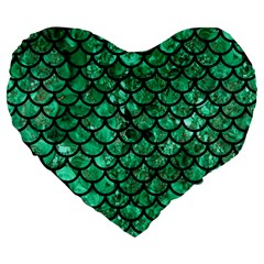 Scales1 Black Marble & Green Marble Large 19  Premium Heart Shape Cushion by trendistuff