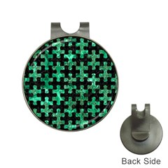 Puzzle1 Black Marble & Green Marble Golf Ball Marker Hat Clip by trendistuff