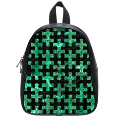 Puzzle1 Black Marble & Green Marble School Bag (small) by trendistuff