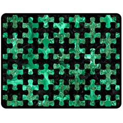 Puzzle1 Black Marble & Green Marble Fleece Blanket (medium) by trendistuff