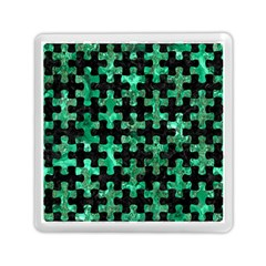 Puzzle1 Black Marble & Green Marble Memory Card Reader (square) by trendistuff