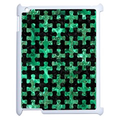 Puzzle1 Black Marble & Green Marble Apple Ipad 2 Case (white) by trendistuff
