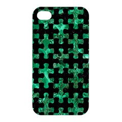Puzzle1 Black Marble & Green Marble Apple Iphone 4/4s Hardshell Case by trendistuff