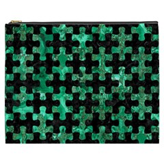 Puzzle1 Black Marble & Green Marble Cosmetic Bag (xxxl) by trendistuff