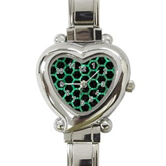 Hexagon2 Black Marble & Green Marble (r) Heart Italian Charm Watch by trendistuff