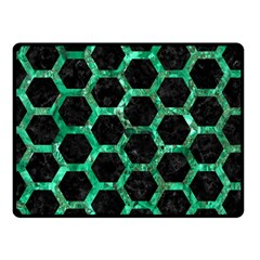 Hexagon2 Black Marble & Green Marble (r) Fleece Blanket (small) by trendistuff