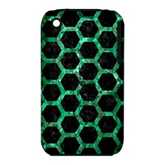 Hexagon2 Black Marble & Green Marble (r) Apple Iphone 3g/3gs Hardshell Case (pc+silicone) by trendistuff