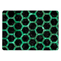 Hexagon2 Black Marble & Green Marble (r) Samsung Galaxy Tab 10 1  P7500 Flip Case by trendistuff