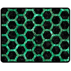 Hexagon2 Black Marble & Green Marble (r) Double Sided Fleece Blanket (medium) by trendistuff