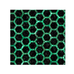 Hexagon2 Black Marble & Green Marble (r) Small Satin Scarf (square) by trendistuff