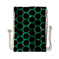 Hexagon2 Black Marble & Green Marble (r) Drawstring Bag (small) by trendistuff