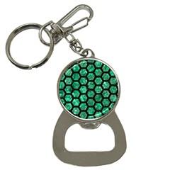 Hexagon2 Black Marble & Green Marble Bottle Opener Key Chain by trendistuff