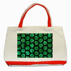 Hexagon2 Black Marble & Green Marble Classic Tote Bag (red) by trendistuff