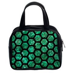 Hexagon2 Black Marble & Green Marble Classic Handbag (two Sides) by trendistuff