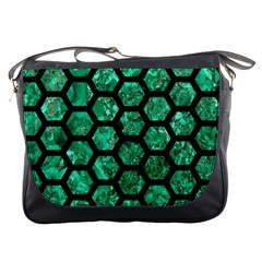 Hexagon2 Black Marble & Green Marble Messenger Bag by trendistuff