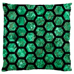 Hexagon2 Black Marble & Green Marble Large Cushion Case (two Sides) by trendistuff