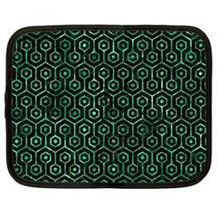 Hexagon1 Black Marble & Green Marble (r) Netbook Case (large) by trendistuff