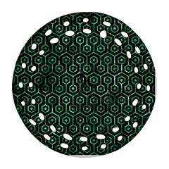 Hexagon1 Black Marble & Green Marble (r) Ornament (round Filigree) by trendistuff