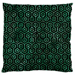 Hexagon1 Black Marble & Green Marble (r) Large Cushion Case (one Side) by trendistuff