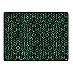 Hexagon1 Black Marble & Green Marble (r) Double Sided Fleece Blanket (small) by trendistuff