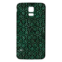 Hexagon1 Black Marble & Green Marble (r) Samsung Galaxy S5 Back Case (white) by trendistuff