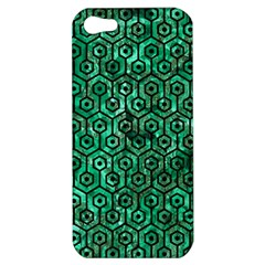 Hexagon1 Black Marble & Green Marble Apple Iphone 5 Hardshell Case by trendistuff