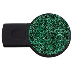 Damask2 Black Marble & Green Marble (r) Usb Flash Drive Round (2 Gb) by trendistuff