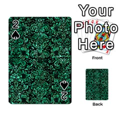 Damask2 Black Marble & Green Marble (r) Playing Cards 54 Designs by trendistuff