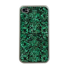 Damask2 Black Marble & Green Marble (r) Apple Iphone 4 Case (clear) by trendistuff