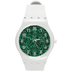 Damask2 Black Marble & Green Marble (r) Round Plastic Sport Watch (m) by trendistuff