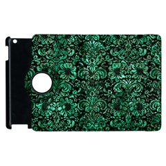 Damask2 Black Marble & Green Marble (r) Apple Ipad 2 Flip 360 Case by trendistuff