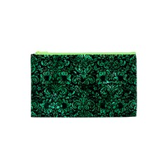 Damask2 Black Marble & Green Marble (r) Cosmetic Bag (xs) by trendistuff
