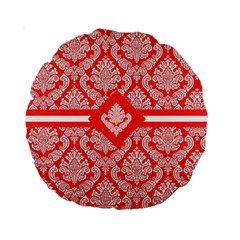 Salmon Damask Standard 15  Premium Round Cushions by SalonOfArtDesigns
