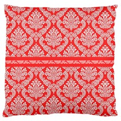 Salmon Damask Large Flano Cushion Cases (one Side)  by SalonOfArtDesigns