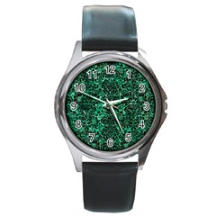 Damask2 Black Marble & Green Marble Round Metal Watch by trendistuff