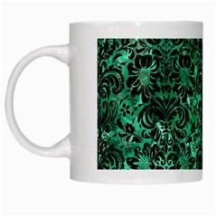 Damask2 Black Marble & Green Marble White Mug by trendistuff