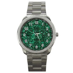 Damask2 Black Marble & Green Marble Sport Metal Watch by trendistuff