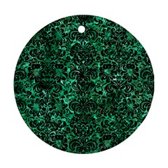 Damask2 Black Marble & Green Marble Round Ornament (two Sides) by trendistuff