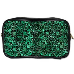 Damask2 Black Marble & Green Marble Toiletries Bag (two Sides) by trendistuff