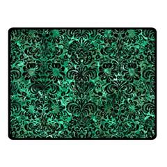 Damask2 Black Marble & Green Marble Double Sided Fleece Blanket (small) by trendistuff