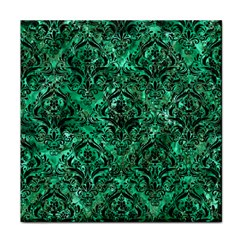 Damask1 Black Marble & Green Marble (r) Tile Coaster by trendistuff