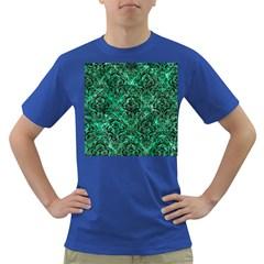 Damask1 Black Marble & Green Marble (r) Dark T Shirt by trendistuff