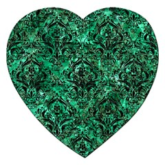 Damask1 Black Marble & Green Marble (r) Jigsaw Puzzle (heart)