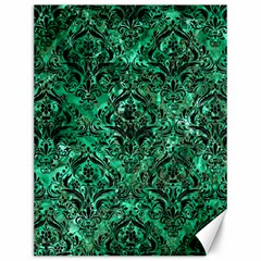 Damask1 Black Marble & Green Marble (r) Canvas 12  X 16  by trendistuff