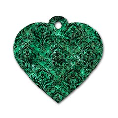 Damask1 Black Marble & Green Marble (r) Dog Tag Heart (one Side) by trendistuff