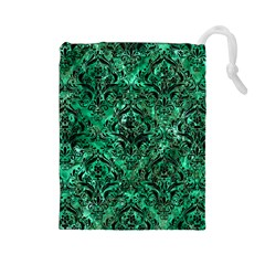 Damask1 Black Marble & Green Marble (r) Drawstring Pouch (large) by trendistuff