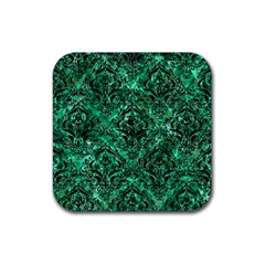 Damask1 Black Marble & Green Marble Rubber Square Coaster (4 Pack) by trendistuff